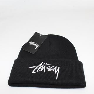 stussy ステューシー ニット帽 ロゴ刺繍 ブラック