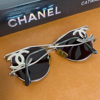 CHANEL - 激レア!95'sコレクションヴィンテージサングラスミラーレンズシルバーマトラッセ