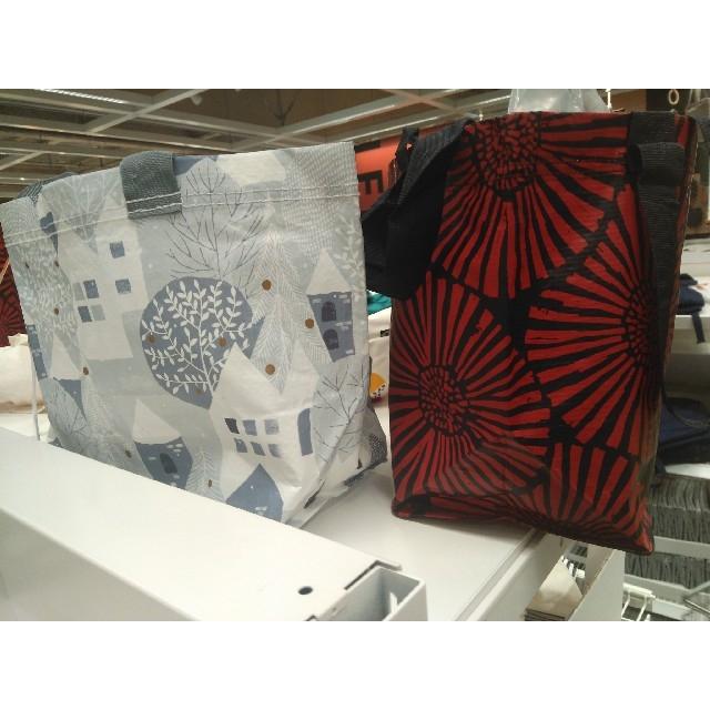 IKEA(イケア)の【IKEA】最新イケアSサイズ3枚猫柄+インルップ+プリルタ  買い物エコバッグ レディースのバッグ(エコバッグ)の商品写真