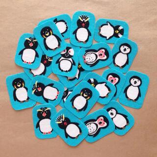 布シール⚫︎7種のペンギン(青)21枚(その他)