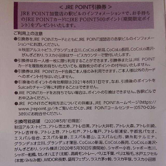 1枚 JRE POINT 500ポイント引換券 JREポイント 株主優待券 チケットの優待券/割引券(ショッピング)の商品写真