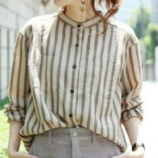 coen - コーエン バンドカラー ストライプシャツ