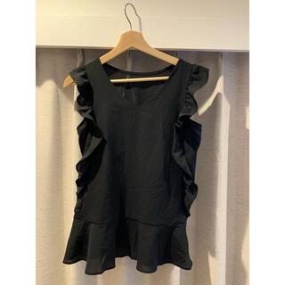 エージーバイアクアガール(AG by aquagirl)のフリルペプラムブラウス ブラック(シャツ/ブラウス(半袖/袖なし))