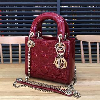 Christian Dior - ディオール 現行 レディディオール 2WAYミニバッグ エナメル 赤