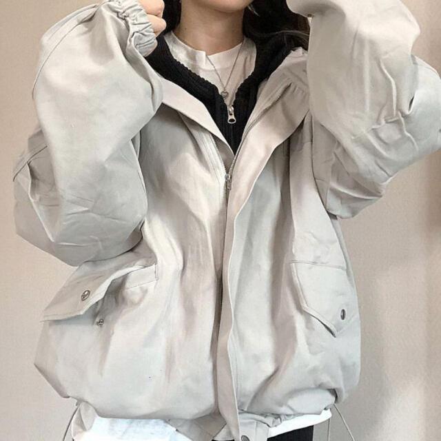 STYLENANDA(スタイルナンダ)の【予約商品】《2カラー》 ブルゾン アウター 韓国ファッション 春服 レディースのジャケット/アウター(ノーカラージャケット)の商品写真