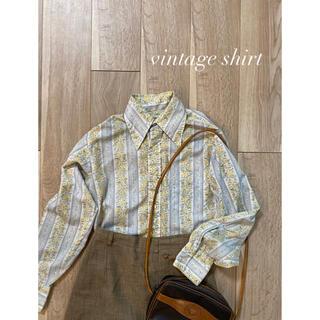 ロキエ(Lochie)のvintage shirt ヴィンテージシャツ ブルー 古着(シャツ/ブラウス(長袖/七分))