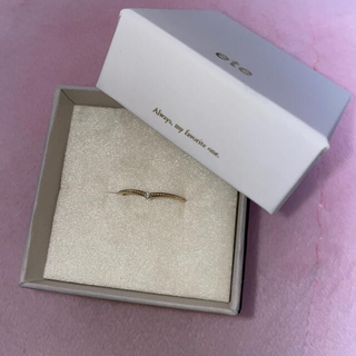 ete - 【美品】ete K10YGレイヤード ダイヤモンド リング 15号
