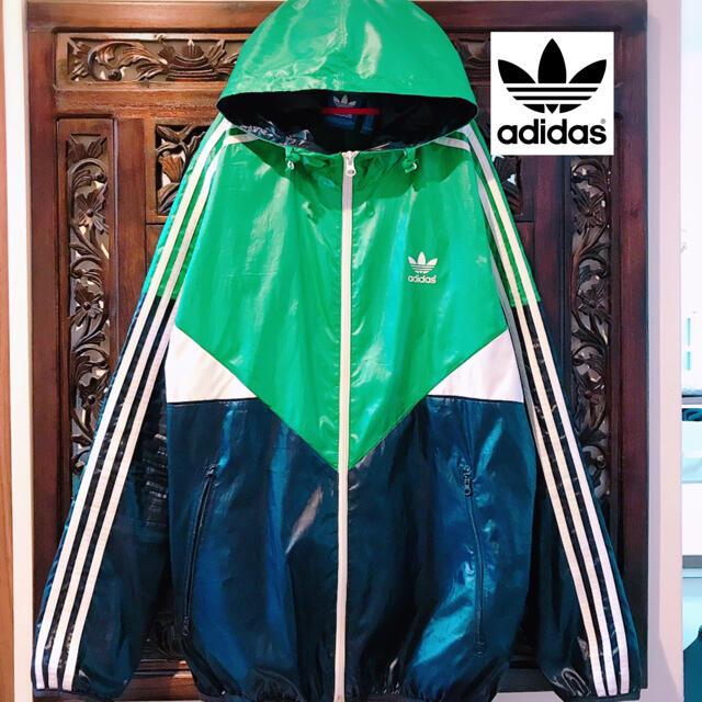 adidas(アディダス)のアディダス グリーン ウィンドブレーカー ジャージ ジャケット ナイロンパーカー メンズのジャケット/アウター(ナイロンジャケット)の商品写真