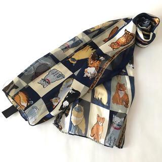ロキエ(Lochie)の古着 猫柄 ビンテージ 長方形 スカーフ 4(バンダナ/スカーフ)