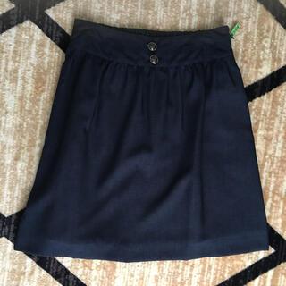 プーラフリーム(pour la frime)のレトロボタンつきネイビースカート(ひざ丈スカート)
