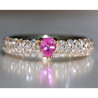 K18 ピンクサファイア ダイヤモンド リング 6号 パヴェ サファイア 指輪