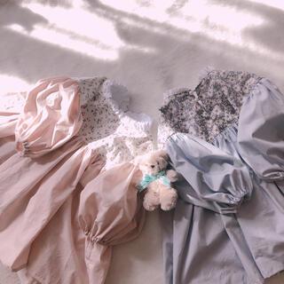ボンポワン(Bonpoint)のliberty♡ボリュームお袖の立ち襟ワンピース one-piece(ワンピース)