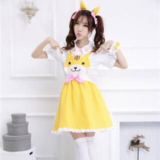 新品!猫のメイド服(黄色)(衣装一式)