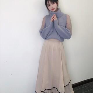 リリーブラウン(Lily Brown)の裾パイピングシフォンスカート 美品(ロングスカート)