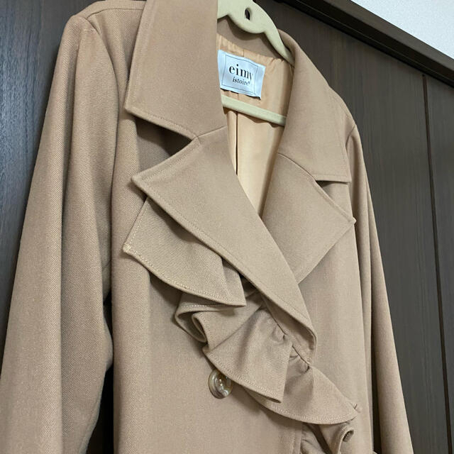 eimy istoire(エイミーイストワール)のeimy フリルディテールエレガントコート レディースのジャケット/アウター(ロングコート)の商品写真
