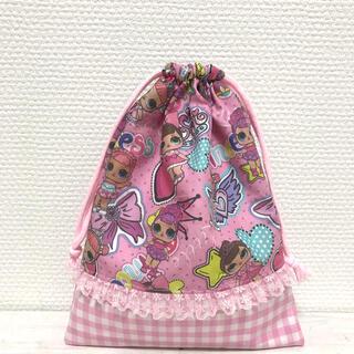 ピンクスター柄♡チェック合わせ♡ミニフリル  給食袋 巾着袋(外出用品)