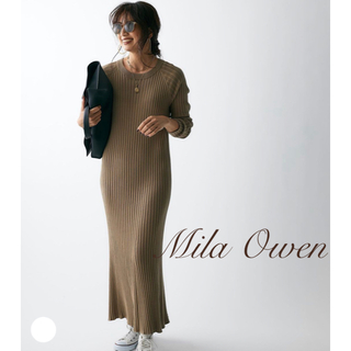 Mila Owen - ラグランリブニットワンピース/ブラウン/1