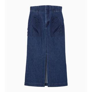 mame - Embroidered Denim Skirt - blue