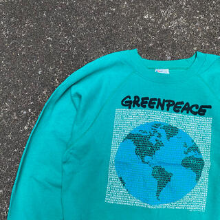 Hanes - 【USA】80s GREENPEACE スウェット グリーン