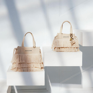 ALEXIA STAM - Square Fringe Medium Tote Bag Ivory