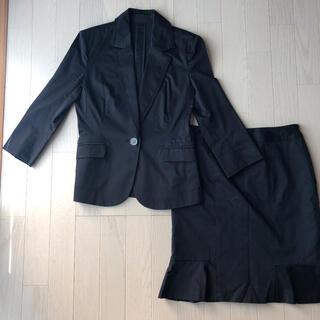 七分袖 伸縮ブラックスーツ スカート(スーツ)