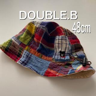 DOUBLE.B - ダブルビー 帽子 ミキハウス リバーシブル 48センチ チェック ベージュ