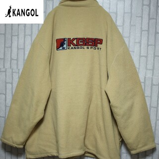 カンゴール(KANGOL)のカンゴール スポーツ フリース キルティング 4L ベージュ kangol 刺繍(ブルゾン)