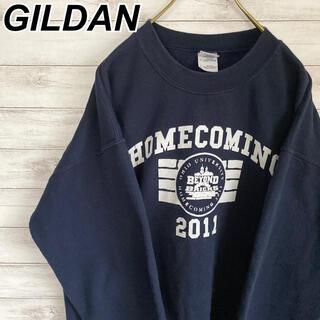 ギルタン(GILDAN)のLサイズ 古着 ギルダン スウェット ネイビー カレッジロゴ ビックプリント(スウェット)