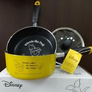 Disney - 匿名発送! 未使用 ディズニー 鍋 フライパン ガラス蓋 セット くまのプーさん