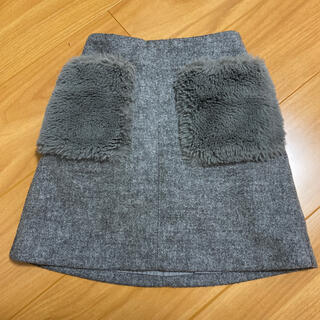 GU - gukidsグレーファーポケット付きスカート★130センチ