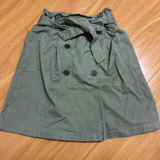 ジーユー(GU)のgukidsカーキトレンチスカート★130センチ(スカート)