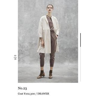 Drawer - Drawer ノーカラーロングコート ベージュ 36
