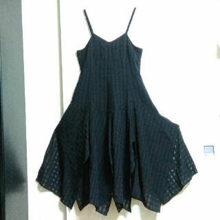 ニッセン(ニッセン)のキャミソール ワンピース 黒(ミディアムドレス)