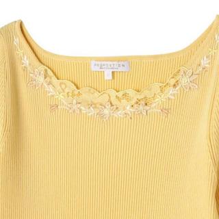 PROPORTION BODY DRESSING - 超美品!プロポーション デコルテレース刺繍リブニット5分袖 サイズ2 イエロー