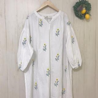 Fillil 刺繍ワンピース 北欧風 花柄 白 春コーデ ゆったり フィリル
