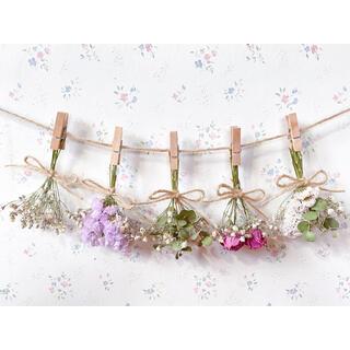 バラとかすみ草とユーカリのドライフラワーガーランド♡スワッグ♡ミニブーケ♡壁掛け