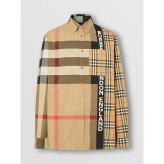 BURBERRY - 20AW BURBERRY パッチワーク ロゴ チェックシャツ