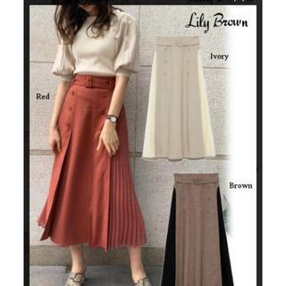 Lily Brown - 異素材切替プリーツスカート RED