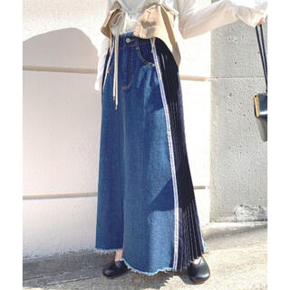 Ameri VINTAGE - AMERI❤︎ SIDE PLEATS DENIM SKIRT  アメリ