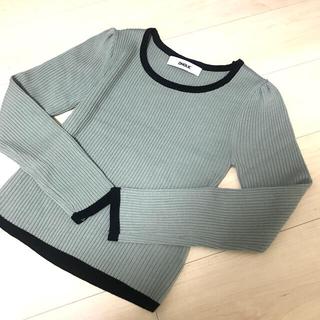 ザラ(ZARA)のバイカラーニット ミント 試着のみ(ニット/セーター)