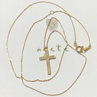 agete - agete K18 ダイヤモンド クロス ネックレス 十字架 アガット
