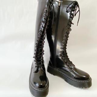 【新品・未使用】ロングブーツ MIBEILIN ブラック 黒 23cm