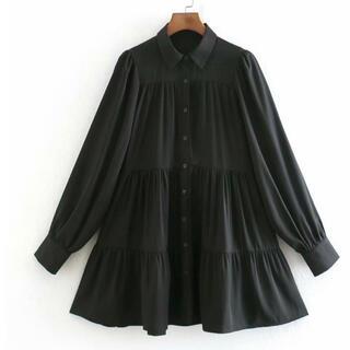 【大人気】フレアワンピース  シャツワンピース ブラック 黒 ZARA ザラ M