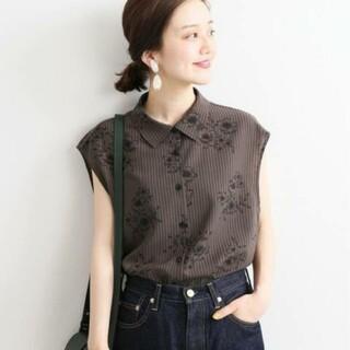 IENA - 新品未使用♡イエナ♡ストライプフラワーノースリーブシャツブラウス 36