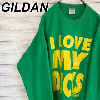 ギルタン(GILDAN)のXLサイズ 古着 ギルダン スウェット グリーン ビッグサイズ プリント(スウェット)