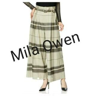 Mila Owen - 新品未使用タグ付き☆ミラオーウェン ベルト付きチェックワイドパンツ