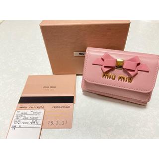 miumiu - miumiu 折り財布 ミニ財布 リボン フィオッコ 美品!