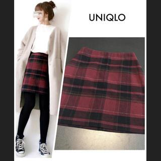 ユニクロ(UNIQLO)のユニクロ UNIQLO ウールブレンド ミニスカート ハイウェスト チェック  (ひざ丈スカート)