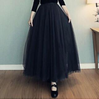 【即日発送】 大きいサイズ ブラック ロング チュールスカート ハイウエスト