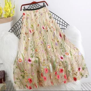 eimy istoire - [お取り寄せ]大人気⭐️花柄刺繍メッシュロングスカート